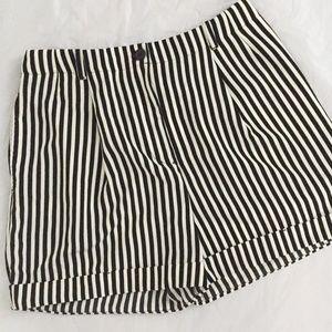 American Apparel Pleated Cuff Striped Shorts